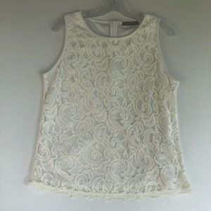 Adrianna Papell Ivory Lace Sleeveless Top